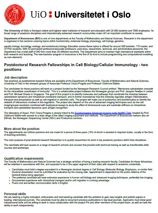 Two Postdoctoral Research Fellowships in Cell Biology/Cellular