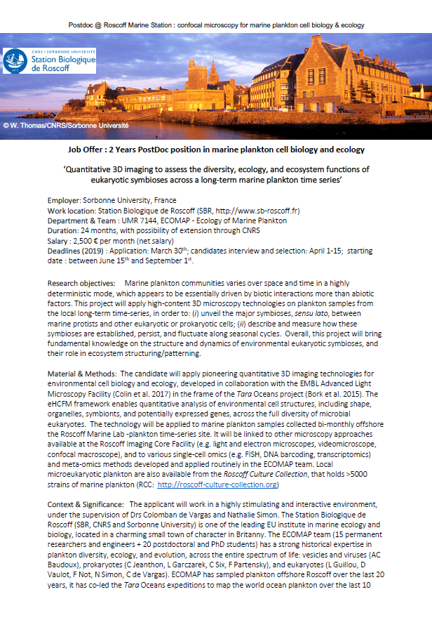 2 Years PostDoc position in marine plankton cell biology and