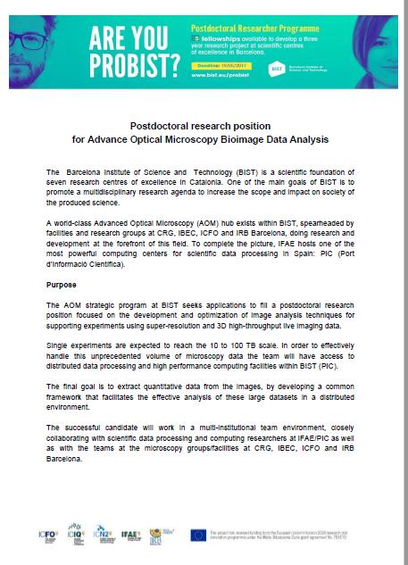 Postdoc position to develop Big Data Bioimage Analysis