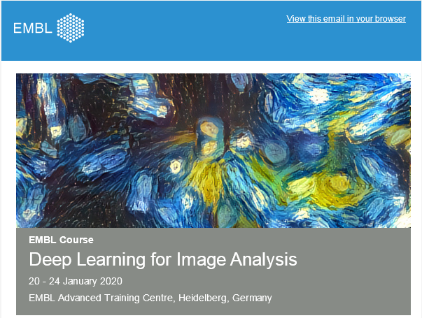Deep Learning for Image Analysis, 20 – 24 January 2020, EMBL